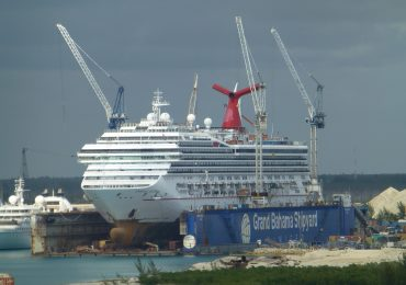 Carnival Valor in drydock in Freeport, Bahamas